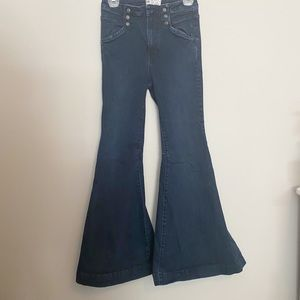 Free People high rise flared dark wash jeans 27